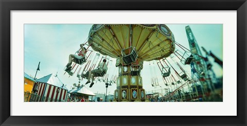 Framed Tourists riding on an amusement park ride, Lynn's Trapeze, Luna Park, Coney Island, Brooklyn, New York City, New York State, USA Print