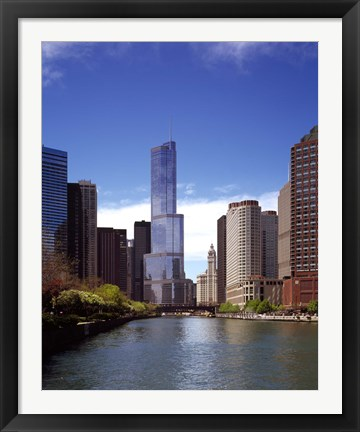 Framed Skyscraper in a city, Trump Tower, Chicago River, Chicago, Cook County, Illinois, USA Print