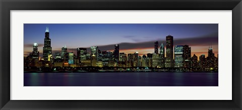 Framed Buildings at the Waterfront, Lake Michigan at Night, Chicago, Illinois, USA 2011 Print