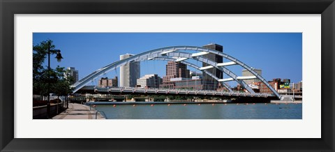 Framed Frederick Douglas-Susan B. Anthony Memorial Bridge across the Genesee River, Rochester, Monroe County, New York State, USA 2011 Print
