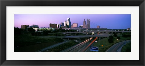 Framed Highway interchange and skyline at sunset, Kansas City, Missouri, USA Print