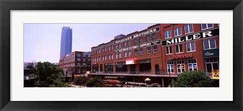 Framed Bricktown Mercantile building along the Bricktown Canal with Devon Tower in background, Bricktown, Oklahoma City, Oklahoma Print