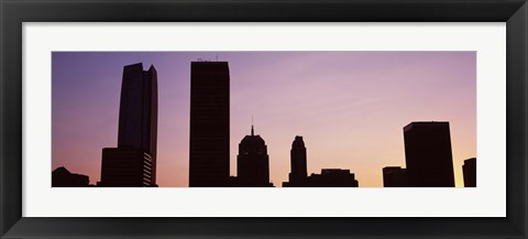 Framed Downtown skyline at dusk, Oklahoma City, Oklahoma, USA Print