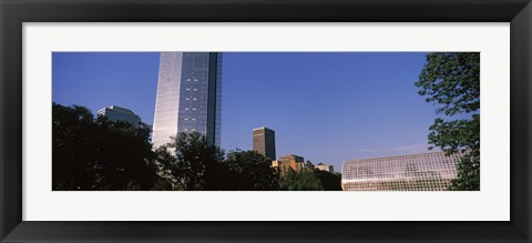 Framed Low angle view of the Devon Tower and Crystal Bridge Tropical Conservatory, Oklahoma City, Oklahoma, USA Print