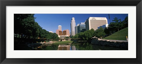 Framed Buildings at the waterfront, Qwest Building, Omaha, Nebraska Print