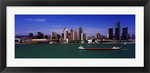 Framed Buildings at the waterfront, Detroit, Michigan Print