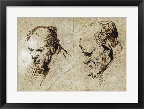 Framed Two Studies of the Head of an Old Man Print