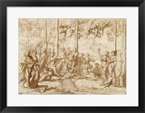 Framed Apollo and the Muses on Mount Parnassus Print