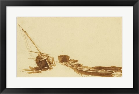 Framed Boats on Shore and in Water Print