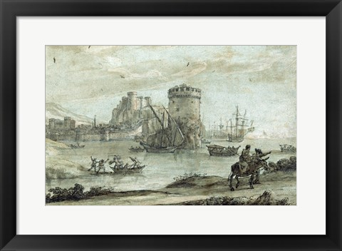 Framed Figures in a Landscape before a Harbor Print