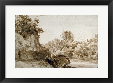 Framed Wooded Landscape Print