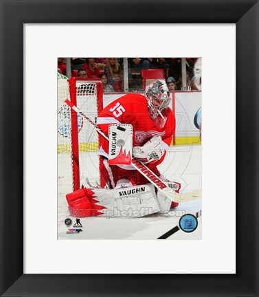 Framed Jimmy Howard Gaurding Hockey Goal Print