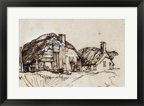 Framed Two Thatched Cottages with Figures at a Window Print