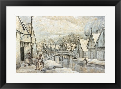 Framed Street in Jisp on a Winter's Day Print