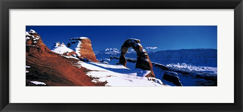 Framed USA, Utah, Delicate Arch, winter Print