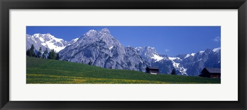 Framed Field Of Wildflowers With Majestic Mountain Backdrop, Karwendel Mountains, Austria Print