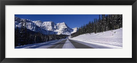 Framed Canada, Alberta, Banff National Park, road, winter Print