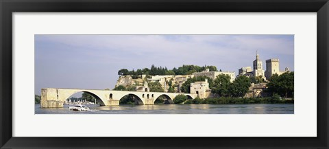 Framed Castle at the waterfront, Pont Saint-Benezet, Palais des Papes, Avignon, Vaucluse, France Print