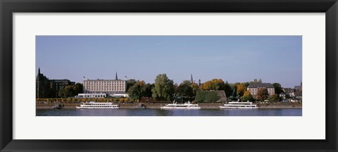 Framed Tour Boat In The River, Rhine River, Bonn, Germany Print
