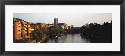 Framed Church Along A River, Worcester Cathedral, Worcester, England, United Kingdom Print