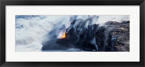 Framed High angle view of lava flowing into the Pacific Ocean, Volcano National Park, Hawaii, USA Print