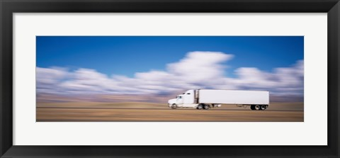 Framed Truck on the road, Interstate 70, Green River, Utah Print