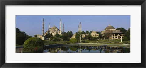 Framed Garden in front of a mosque, Blue Mosque, Istanbul, Turkey Print