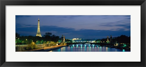 Framed France, Paris, Eiffel Tower , Seine River Print