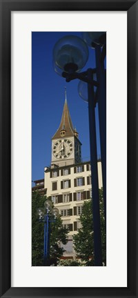 Framed Low angle view of a clock tower, Zurich, Canton Of Zurich, Switzerland Print