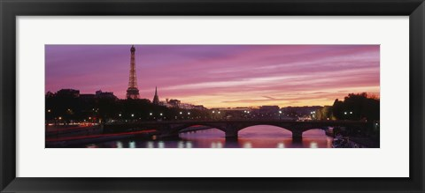Framed Sunset, Romantic City, Eiffel Tower, Paris, France Print