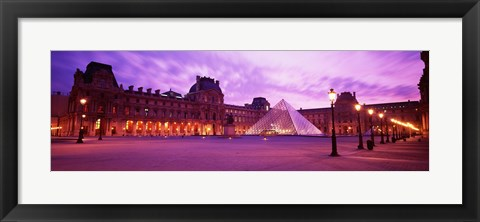 Framed Famous Museum, Sunset, Lit Up At Night, Louvre, Paris, France Print