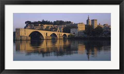 Framed Reflection of a palace on water, Pont Saint-Benezet, Palais Des Papes, Avignon, Provence, France Print