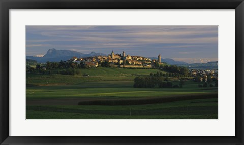 Framed Houses on a hill, Romont, Switzerland Print