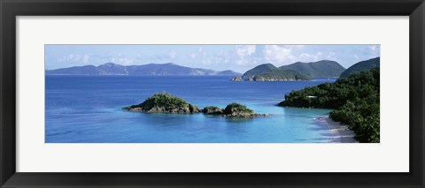 Framed US Virgin Islands, St. John, Trunk Bay, Rock formation in the sea Print