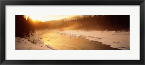 Framed Frozen River, BC, British Columbia, Canada Print