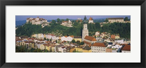 Framed High angle view of buildings in a town, Salzach River, Burghausen, Bavaria, Germany Print