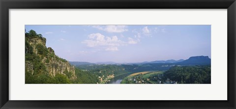 Framed High angle view of a river flowing through a landscape, Elbe River, Elbsandstein Mountains, Saxony, Switzerland, Germany Print