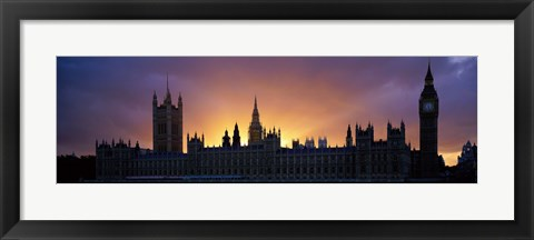Framed Sunset Houses of Parliament & Big Ben London England Print