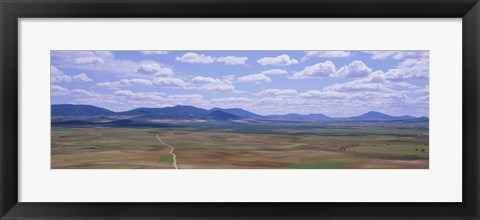 Framed High angle view of a dirt road passing through a landscape, Consuegra, La Mancha, Spain Print