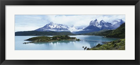 Framed Island in a lake, Lake Pehoe, Hosteria Pehoe, Cuernos Del Paine, Torres del Paine National Park, Patagonia, Chile Print