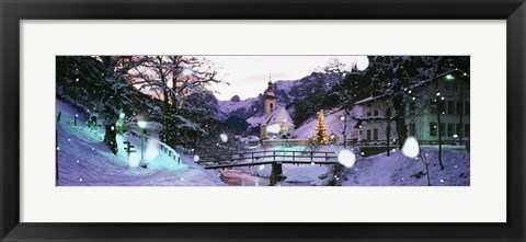 Framed Church on a snow covered hill, Rothenburg, Bavaria, Germany Print