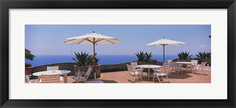 Framed Patio umbrellas in a cafe, Positano, Amalfi Coast, Salerno, Campania, Italy Print