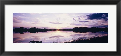 Framed Reflection of clouds in a lake, Illinois, USA Print