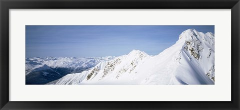 Framed Mountains covered with snow, Cariboo Mountains, British Columbia, Canada Print