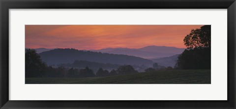 Framed Fog over hills, Caledonia County, Vermont, New England, USA Print
