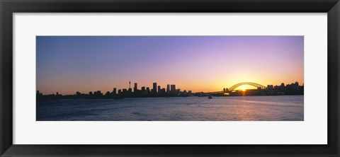 Framed Sunset Over the Bridge, Sydney, Australia Print