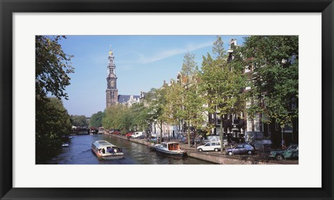 Framed Church along a channel in Amsterdam Netherlands Print