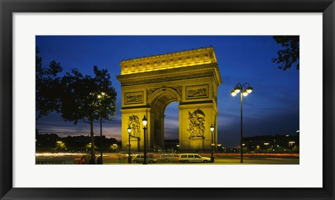 Framed Arc De Triomphe at night, Paris, France Print