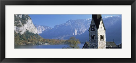 Framed Church at the lakeside, Hallstatt, Salzkammergut, Austria Print