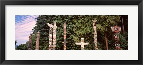 Framed Totem poles in a park, Stanley Park, Vancouver, British Columbia, Canada Print